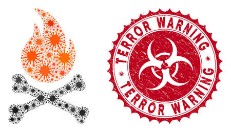 Coronavirus collage death bones flame icon and round rubber stamp seal with Terror Warning text. Mosaic vector is composed with death bones flame pictogram and with randomized virus objects.