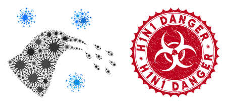 Coronavirus mosaic bird flu infection icon and rounded corroded stamp seal with H1N1 Danger caption. Mosaic vector is designed with bird flu infection icon and with randomized bacteria symbols.