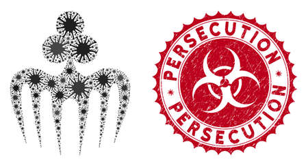 Coronavirus mosaic gambling spectre monster icon and rounded corroded stamp seal with Persecution caption. Mosaic vector is designed with gambling spectre monster icon and with random microbe symbols.