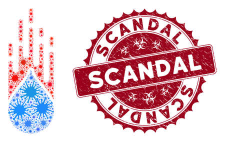 Coronavirus mosaic rush drop icon and rounded rubber stamp seal with Scandal caption. Mosaic vector is composed from rush drop icon and with scattered virus objects.