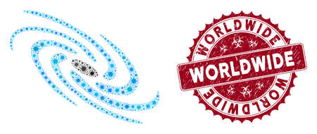 Coronavirus mosaic galaxy icon and round rubber stamp seal with Worldwide caption. Mosaic vector is composed from galaxy icon and with scattered pathogen icons.