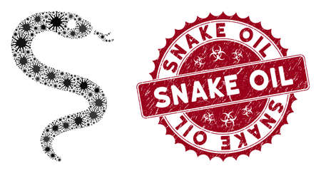 Coronavirus mosaic snake icon and round corroded stamp seal with Snake Oil phrase. Mosaic vector is designed with snake icon and with scattered mers-cov symbols. Snake Oil seal uses biohazard style,