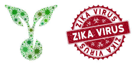 Coronavirus mosaic seed sprout icon and round distressed stamp watermark with Zika Virus text. Mosaic vector is designed with seed sprout icon and with random pathogen icons.