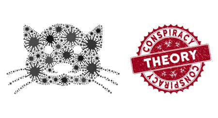 Coronavirus mosaic kitty icon and round rubber stamp watermark with Conspiracy Theory phrase. Mosaic vector is created with kitty icon and with randomized pathogen items.