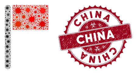 Coronavirus mosaic flag icon and rounded corroded stamp seal with China caption. Mosaic vector is created from flag icon and with scattered flu icons. China stamp uses biohazard style, red color,