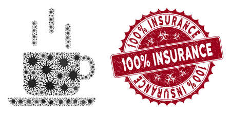 Coronavirus mosaic coffee mug icon and round distressed stamp seal with 100% Insurance caption. Mosaic vector is composed with coffee mug pictogram and with scattered bacteria symbols. Illusztráció