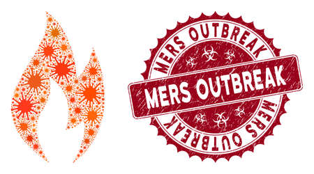 Coronavirus collage fire flame icon and rounded rubber stamp seal with Mers Outbreak text. Mosaic vector is formed with fire flame icon and with random contagion symbols. Illusztráció