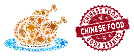Coronavirus mosaic chicken meal icon and rounded distressed stamp seal with Chinese Food caption. Mosaic vector is created from chicken meal icon and with scattered contagious icons. Illusztráció