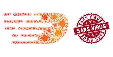 Coronavirus mosaic rush bolide icon and rounded rubber stamp watermark with Sars Virus phrase. Mosaic vector is designed with rush bolide icon and with randomized mers-cov symbols. Illusztráció