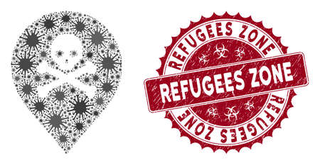 Coronavirus mosaic death map marker icon and rounded rubber stamp watermark with Refugees Zone text. Mosaic vector is designed with death map marker icon and with scattered flu elements.