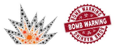 Coronavirus mosaic explosion boom icon and round rubber stamp seal with Bomb Warning caption. Mosaic vector is designed from explosion boom icon and with random epidemic icons.