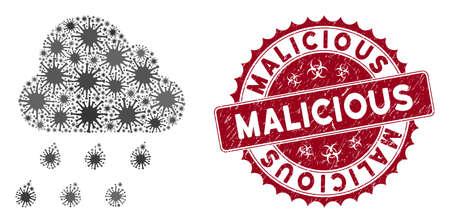 Coronavirus mosaic rain cloud icon and round rubber stamp watermark with Malicious phrase. Mosaic vector is created with rain cloud icon and with random microorganism items. Illusztráció