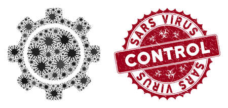 Coronavirus mosaic gear icon and rounded corroded stamp seal with Sars Virus Control text. Mosaic vector is formed with gear icon and with randomized flu icons. Stock Illustratie