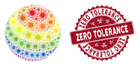 Coronavirus mosaic LGBT color stripes sphere icon and round grunge stamp watermark with Zero Tolerance phrase.