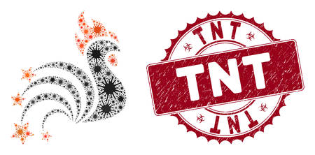 Coronavirus mosaic rooster sparkles icon and round grunge stamp seal with TNT phrase. Mosaic vector is formed with rooster sparkles icon and with random epidemic items. TNT seal uses biohazard style,