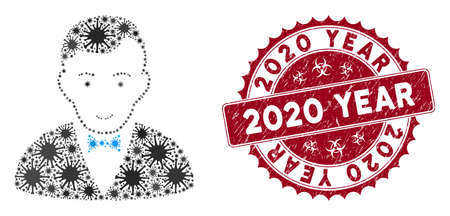 Coronavirus mosaic dealer icon and round grunge stamp seal with 2020 Year text. Mosaic vector is designed with dealer icon and with randomized mers icons. 2020 Year stamp uses biohazard style, Illusztráció
