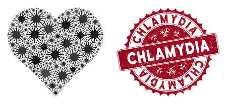 Coronavirus collage heart icon and round grunge stamp seal with Chlamydia text. Mosaic vector is created with heart icon and with scattered contagion icons. Chlamydia stamp seal uses biohazard style, Illusztráció