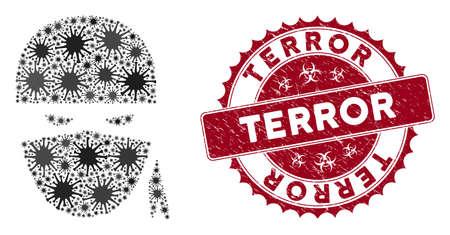 Coronavirus mosaic ninja head icon and round grunge stamp seal with Terror caption. Mosaic vector is composed with ninja head icon and with scattered microbe cell items.
