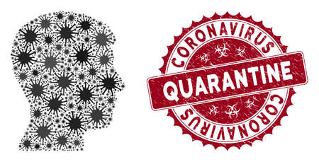 Coronavirus mosaic man head profile icon and round grunge stamp seal with Coronavirus Quarantine phrase. Mosaic vector is formed from man head profile icon and with random flu symbols.