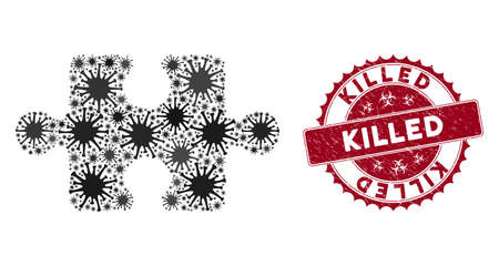 Coronavirus mosaic puzzle item icon and rounded grunge stamp seal with Killed text. Mosaic vector is designed from puzzle item icon and with random flu icons. Killed stamp seal uses biohazard style, Illustration