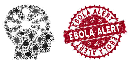 Coronavirus collage human intellect icon and round rubber stamp watermark with Ebola Alert text. Mosaic vector is created with human intellect icon and with random contagion symbols. Ilustracja