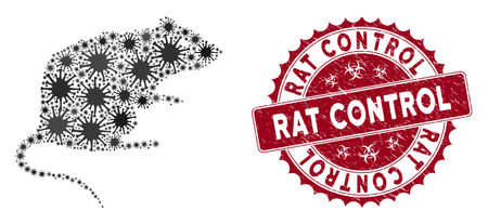 Coronavirus mosaic rat icon and round grunge stamp seal with Rat Control caption. Mosaic vector is formed with rat icon and with scattered flu elements. Rat Control stamp uses biohazard style,