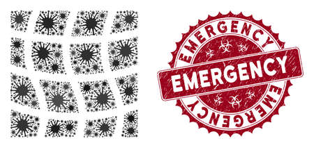 Coronavirus collage mesh square icon and rounded distressed stamp watermark with Emergency text. Mosaic vector is composed with mesh square icon and with randomized infectious elements.