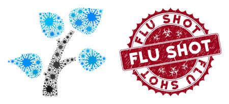 Coronavirus mosaic flora plant icon and rounded grunge stamp seal with Flu Shot phrase. Mosaic vector is formed from flora plant icon and with scattered contagious icons. Ilustração
