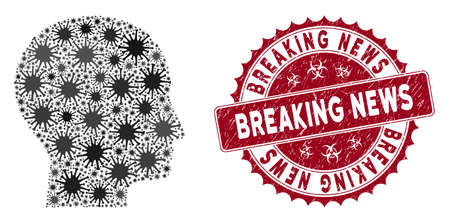Coronavirus collage human head icon and rounded grunge stamp seal with Breaking News text. Mosaic vector is formed from human head icon and with scattered mers symbols.