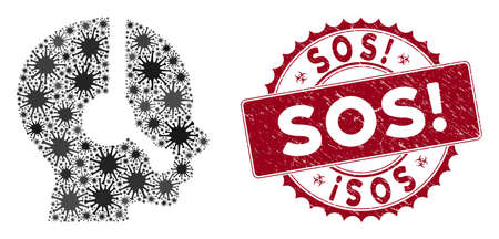 Coronavirus mosaic operator icon and rounded distressed stamp seal with Sos! phrase. Mosaic vector is designed with operator icon and with random viral objects. Sos! stamp uses biohazard style, Illusztráció