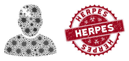 Coronavirus mosaic patient icon and rounded grunge stamp seal with Herpes caption. Mosaic vector is created with patient icon and with randomized epidemic icons. Herpes seal uses biohazard style, Illusztráció