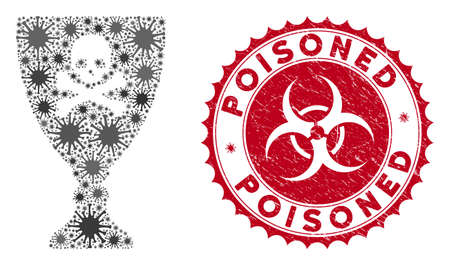 Coronavirus mosaic poison cup icon and rounded corroded stamp seal with Poisoned text. Mosaic vector is designed with poison cup icon and with random infectious icons.