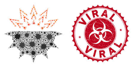 Coronavirus mosaic viral structure icon and rounded corroded stamp seal with Viral caption. Mosaic vector is designed with viral structure icon and with random virus items. Illustration
