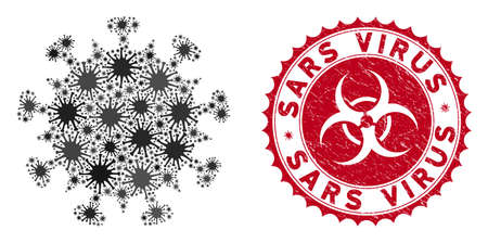 Coronavirus mosaic SARS virus icon and rounded rubber stamp watermark with Sars Virus phrase. Mosaic vector is formed with SARS virus icon and with random pathogen items.