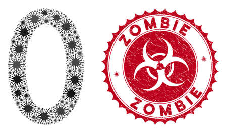 Coronavirus mosaic zero digit icon and rounded corroded stamp seal with Zombie caption. Mosaic vector is formed with zero digit pictogram and with random microbe icons. Çizim