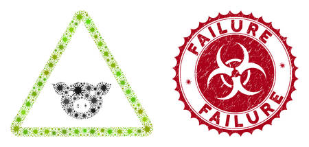 Coronavirus mosaic pig warning icon and round rubber stamp seal with Failure text. Mosaic vector is formed with pig warning pictogram and with random pandemic elements.