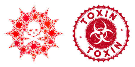 Coronavirus mosaic viral toxin icon and round corroded stamp seal with Toxin caption. Mosaic vector is created with viral toxin icon and with scattered virus objects.