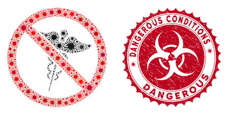 Coronavirus mosaic no medical caduceus icon and rounded corroded stamp seal with Dangerous Conditions text.