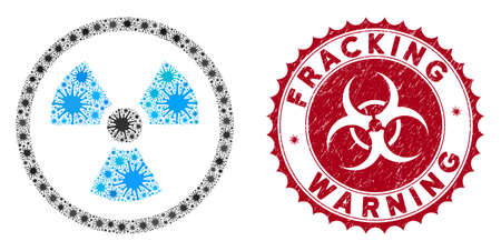 Coronavirus mosaic radioactive icon and rounded distressed stamp watermark with Fracking Warning phrase. Mosaic vector is formed with radioactive icon and with scattered microbe cell symbols. Ilustração