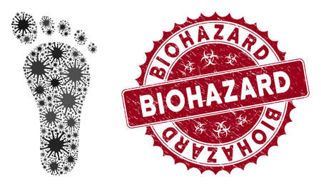 Coronavirus mosaic human footprint icon and rounded grunge stamp seal with Biohazard phrase. Mosaic vector is created with human footprint icon and with random flu elements.