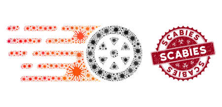 Coronavirus mosaic rush car wheel icon and rounded rubber stamp seal with Scabies text. Mosaic vector is formed with rush car wheel icon and with randomized sars symbols. 向量圖像