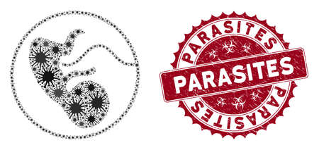 Coronavirus collage prenatal icon and rounded rubber stamp watermark with Parasites caption. Mosaic vector is designed with prenatal icon and with random infection objects.
