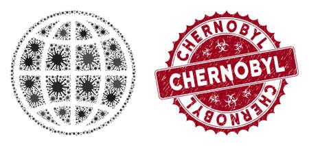 Icône internet de mosaïque de coronavirus et filigrane rond de timbre grunge avec le texte de Tchernobyl. Le vecteur mosaïque est créé avec une icône Internet et avec des objets pandémiques aléatoires.