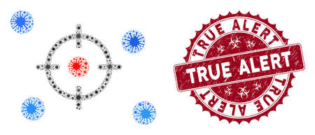 Coronavirus mosaic selective icon and rounded corroded stamp seal with True Alert caption. Mosaic vector is formed with selective pictogram and with scattered viral symbols.