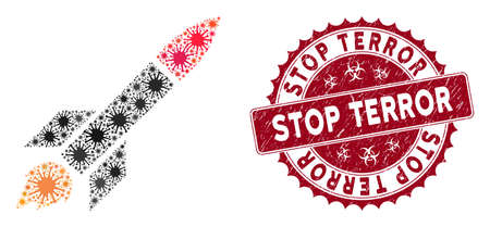 Coronavirus mosaic missile launch icon and rounded grunge stamp seal with Stop Terror text. Mosaic vector is created from missile launch icon and with randomized contagion objects.