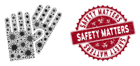 Coronavirus mosaic rubber gloves icon and rounded corroded stamp seal with Safety Matters caption. Mosaic vector is composed from rubber gloves icon and with randomized infection icons. 일러스트