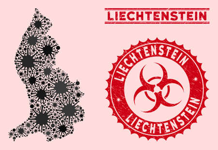 Coronavirus collage Liechtenstein map and red distressed stamp seals with biohazard sign. Liechtenstein map collage formed with scattered infectious items. Red round outbreak danger seal stamp,