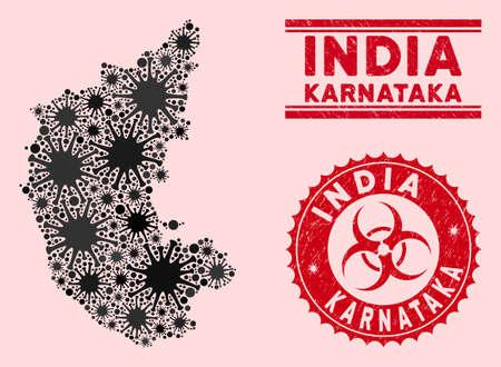 Coronavirus collage Karnataka State map and red grunge stamp watermarks with biohazard symbol. Karnataka State map collage composed with random viral symbols. Red round outbreak danger watermark,