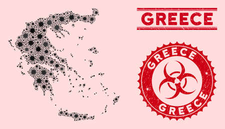 Coronavirus collage Greece map and red rubber stamp seals with biohazard sign. Greece map collage formed with random bacterium elements. Red round outbreak danger seal stamp, with scratched texture.