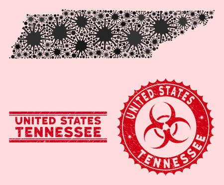 Coronavirus collage Tennessee State map and red grunge stamp seals with biohazard sign. Tennessee State map collage formed with random pandemic elements. Red rounded outbreak danger stamp,
